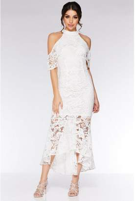 Quiz Cream Crochet High Neck Dip Hem Maxi Dress