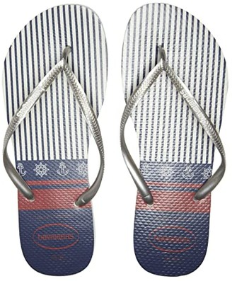 Havaianas Slim Nautical Flip-Flops (White/Silver) Women's Sandals