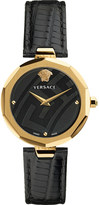 Versace V-Muse gold and leather watch