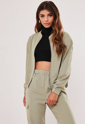 Missguided Petite Green Co Ord Pinstripe Bomber Jacket