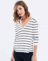 Miss Selfridge Stripe V Neck Lattice Knitted Jumper