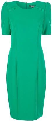 Badgley Mischka Button Neck Mid-Length Dress