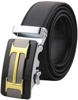 Batedan Mens Genuine Leather Belts Automatic Buckle H Belts Black Waist Strap