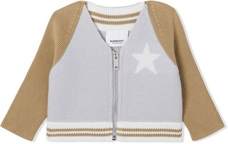 Burberry Star Motif Contrast Knitted Sleeve Merino Wool Jacket