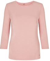 Gerry Weber 3/4 Sleeve Frill Trim Jersey Top, Blush