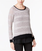 Bar III Asymmetrical Contrast Sweater, Only at Macy's