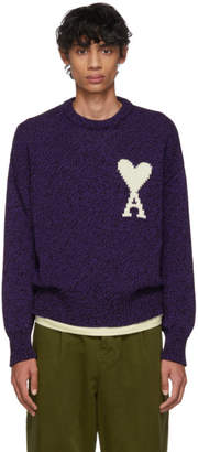 Ami Alexandre Mattiussi Purple and Black Oversized Ami De Coeur Sweater