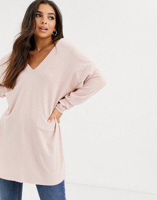 Asos Design DESIGN oversized v neck batwing sleeve top in dusty pink