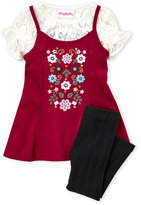 Flapdoodles Toddler Girls) Two-Piece Floral Mock Jumper Dress & Ribbed Leggings Set