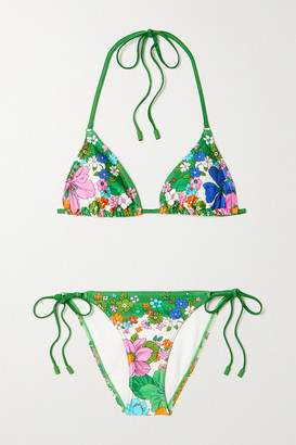 Zimmermann Riders Floral-print Triangle Halterneck Bikini - Green