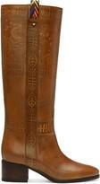 Valentino Brown Santeria Embossed Boots
