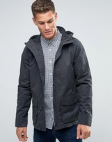 Jack Wills Jacket With Hood In Canvas Charcoal