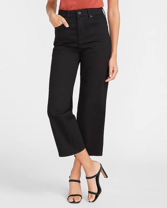 Express Super High Waisted Black Cropped Wide Leg Jeans