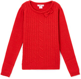 Pink Angel Red Metallic Cable-Knit Bow Sweater - Infant & Girls