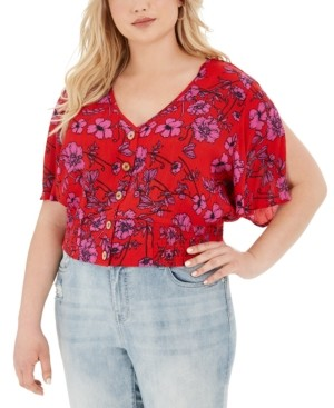Band of Gypsies Trendy Plus Size Floral-Print Cropped Blouse