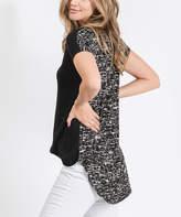Cool Melon Women's Tunics Black - Black & White Static V-Neck Tunic - Women & Plus