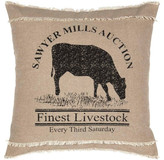Vhc Brands Sawyer Mill Charcoal Cow Pillow 18x18