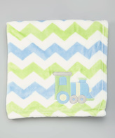 Baby Essentials 30'' x 30'' Blue & Green Chevron Train Blanket