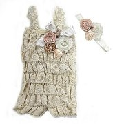 Ameda Baby Elegant Rosettes Pearl Lace Petti Romper Headband Set