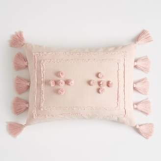 Pottery Barn Teen Tara Tassel Pillow Cover, 12&quotx16&quot, Powdered Blush