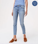 LOFT Curvy Frayed Skinny Crop Jeans in Authentic Light Indigo Wash