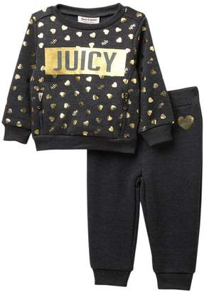 Juicy Couture Heart Fleece Top & Bottom Set (Baby Girls)