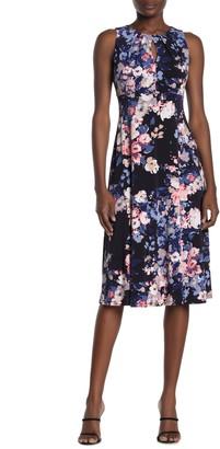 London Times Pleat Neck Midi Dress