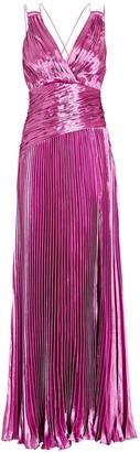 Aiifos Vera Pleated Metallic Maxi Dress