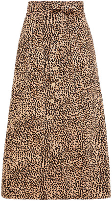 Ulla Johnson Tegan Leopard-print Cotton-blend Twill Midi Skirt