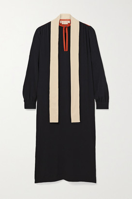 Marni Tie-neck Color-block Crepe De Chine Midi Dress - Black