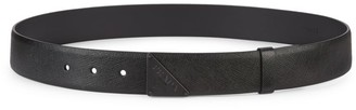 Prada Monochrome Traingle Logo Leather Belt