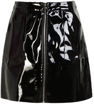 boohoo Vinyl Two Tone Zip Woven Mini Skirt