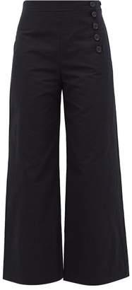 Chloé High-rise Wide-leg Cotton-blend Twill Trousers - Womens - Navy