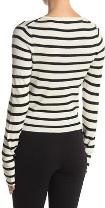 Naadam Striped Long Sleeve Cropped Shirt