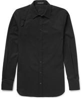 Alexander McQueen Slim-Fit Harness-Detailed Piqué-Panelled Cotton-Poplin Shirt