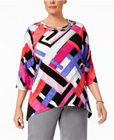 Alfred Dunner Plus Size Closet Case Collection Geo-Print Embellished Tunic