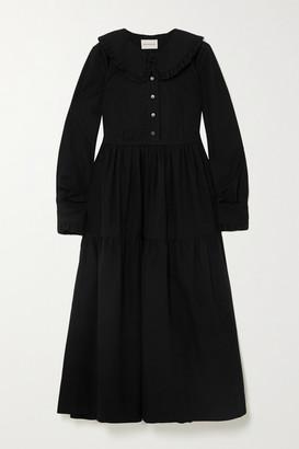 &Daughter + Net Sustain Maxime Tiered Ruffled Cotton-seersucker Midi Dress - Black