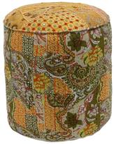 nuLoom Boho Floral Patchwork Motif Cotton Pouf