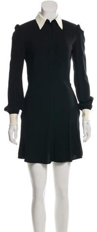Saint Laurent Long Sleeve Mini Dress Black Long Sleeve Mini Dress