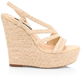 Alice + Olivia Tenley Raffia & Leather Slingback Platform Wedge Sandals