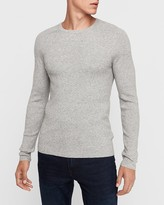 Express Marled Ribbed Stretch Crew Neck Sweater