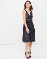 White House Black Market Shadow Stripe Fit-and-Flare Dress