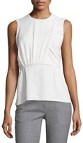 Derek Lam Sleeveless Ruched Peplum Top, White