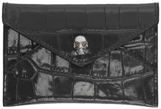 Alexander McQueen Grey Croc Envelope Card Holder