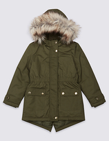 Marks and Spencer Pure Cotton Faux Fur Parka with StormwearTM (3-14 Years)
