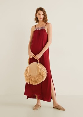 MANGO Embroidered panel dress maroon - 4 - Women