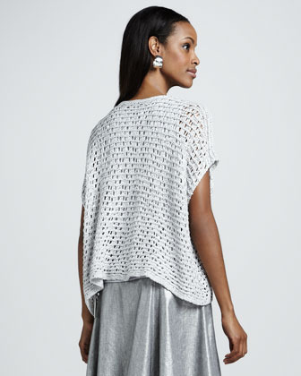 Eileen Fisher Sequined Chain-Mail Mesh Top