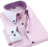 Good Helper Men 's Double - Collar Business Slim Casual Professional Shirts,-XL