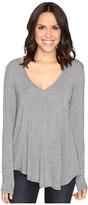 Heather Long Sleeve V-Neck Tee Women's T Shirt