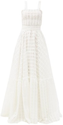 Luisa Beccaria Square-neck Fil-coupe Organza Gown - White